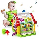 Baby Spielzeug,bunte musikalische lustige Steckhaus mit Licht und Musik Spielen,verschiedene geometrische und Tiere Steckbausteine,Entwicklung Förderung,für Mädchen,Jungen, Kleinkinder und Babys (new fun house)