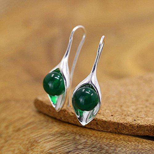 Zhiming S925 Reines Silber natürliche grüne Jade Mark Weibliche Ohrring - Weibliche Natürliche