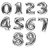 iShine Ballon Zahl 2 (Silber) 32-Zoll für Geburtstag Jubiläum & Co - Party Geschenk Luftballon Birthday Hochzeit Dekoration -