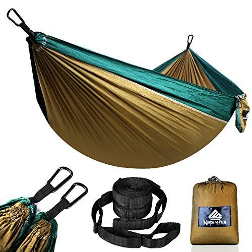 NATUREFUN Ultraleicht Reise Camping Hängematte | 300 kg Tragfähigkeit, (275 x 140 cm) Fallschirmnylon | 2 x Premium Karabiner, 2 x Nylonschlingen inklusive | Für den Outdoor Indoor Garden