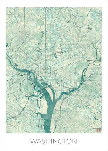 Poster 50 x 70 cm: Washington Karte Blau von Hubert Roguski - hochwertiger Kunstdruck, neues Kunstposter