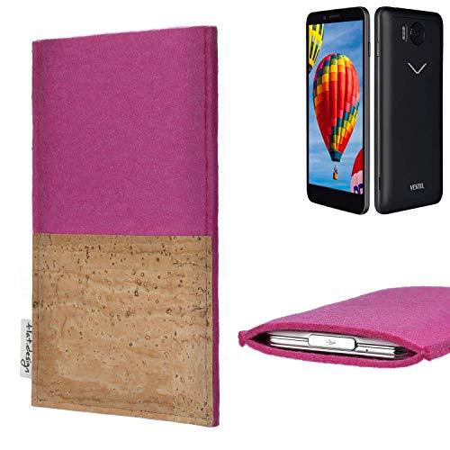 flat.design Handy Hülle Evora mit Korkfach für Vestel V3 5030 - Schutz Case Etui Filz Made in Germany in pink mit Korkstoff - passgenaue Handytasche für Vestel V3 5030