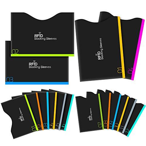 Protezione RFID, Aerb 16-Pack Blocco RFID Carta di Credito e Passaporto [12 Blocco Carta di Credito & 4 Blocco Passaporto]-Black