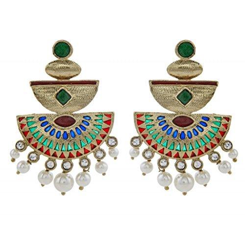 Die Jewelbox mehendi Finish rot und grün Meenakari Kundan Perle Antik Ohrring -