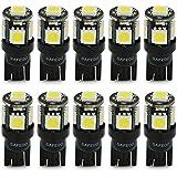 Safego 10x T10 W5W LED Bombillas exteriores 5 SMD 5050 Luz Coche trasera Lámpara Blanco Xenon Luz de interior 194 168 T10 Wedge Lampara para Coches luces de la matrícula luces laterales 12V