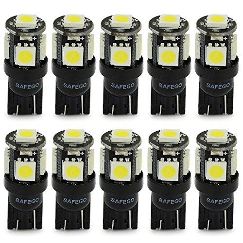 Safego 10 x T10 LED W5W LAMPADINE 194 168 5 SMD 5050 bianco LED luci dell'automobile Bulb 12V diretto Replacment e Reverse per Auto RV Interni Segnale cuneo Tipo