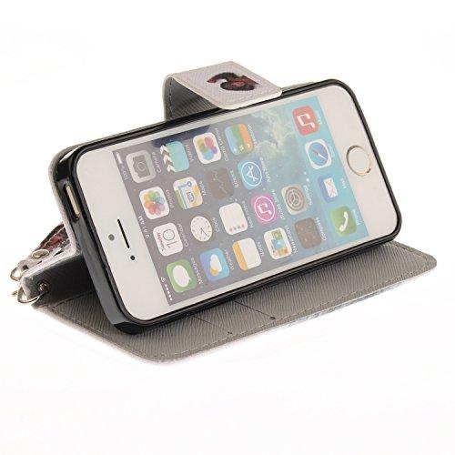 Custodia iphone SE / 5 / 5S Cover ,COZY HUT Flip Caso in Pelle Premium Portafoglio Custodia per iphone SE / 5 / 5S, Retro Animali di cartone animato Modello Design Con Cinturino da Polso Magnetico Sna scimmia