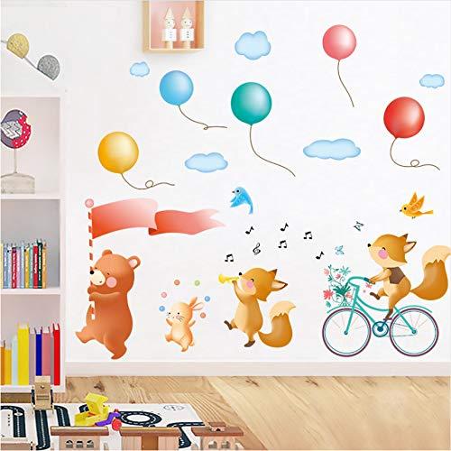 Cczxfcc Cartoon Tiere Parade Durch Die Straße Wandaufkleber Gesang Der Song Musik Aufkleber Abnehmbare Pvc Wasserdicht Für Kinderzimmer