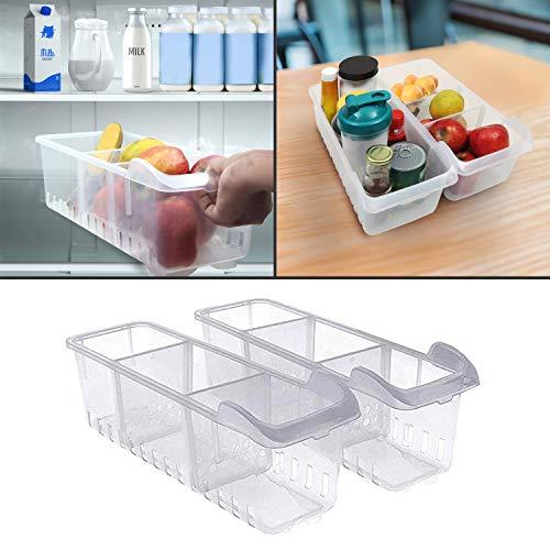 Kurelle organizer frigorifero 2 pcs - frigorifero conservazione cestini (40cmx12cmx16cm) - frigo organizer impilabili per organizzazione scaffali, frigorifero, cucina, dispensa