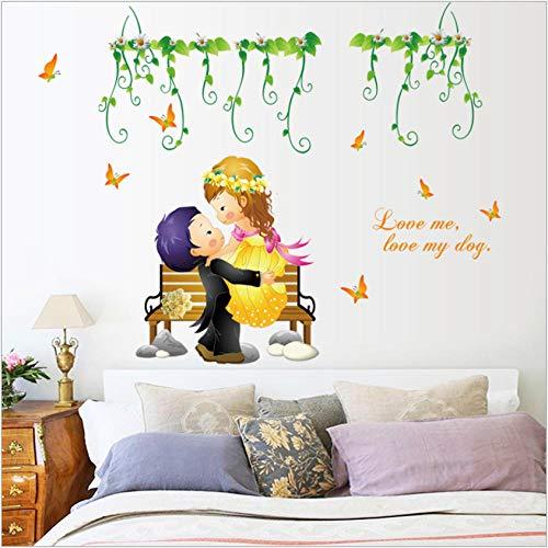 Lovemq New Direct Großhandel Cartoon Menschen Romantische Hochzeit Dekoration Wandaufkleber Sofa Hintergrund Wandaufkleber Wandtattoos Wandbild 50X70Cm (Cartoon Menschen Wenig)