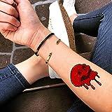 craneo Rojo etiqueta engomada falso temporal del tatuaje (Juego de 2) - TOODTATTOO.COM