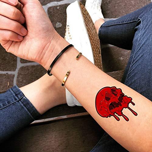 craneo Rojo etiqueta engomada falso temporal del tatuaje (Juego de 2) - www.ohmytat.com