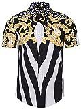 Pizoff Chemise Homme à Manches Courtes à Belle Impression Graffitis Floral Couleur D'Or Luxury Design Dress Shirt Chemise de Fantaisie Y1782-04 - Homme L