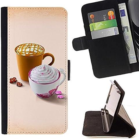 For HTC One M9 Case , Disegno sveglio Whip Caffè - Portafoglio in pelle della Carta di Credito fessure PU Holster Cover in pelle case