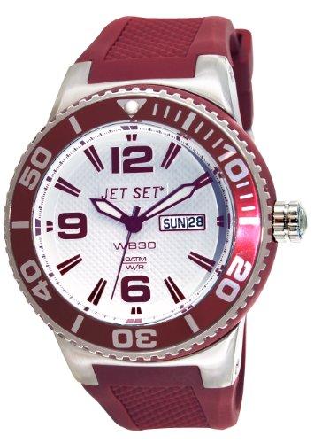 Jet Set–J55454-07Wb30Rubber Strap Unisex Watch–Analogue Quartz–White Dial–Red