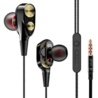 pTron Boom Evo 4D in-Ear Dual Driver Wired Headphones with in-line Mic & Volume Control - (Black & Gold)