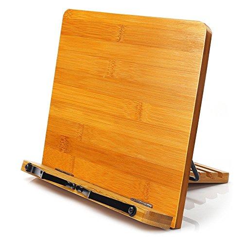 MEETYOO Book Ständer Halter für PC-Schreibtisch mit Anderen Kochbuch faltbar Tablet iPad-Ständer von Bambus-Halter Musicbook/Kochen Rezept-Tragbare Bookrest Einstellbarer Winkel