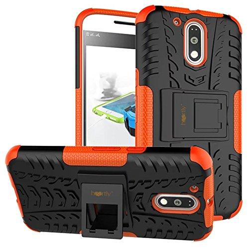 Heartly Tough Shock Proof Rugged Armor Back Case For Motorola Moto G Plus 4Th Gen / Moto G4 Plus / Moto G4 - Mobile Orange