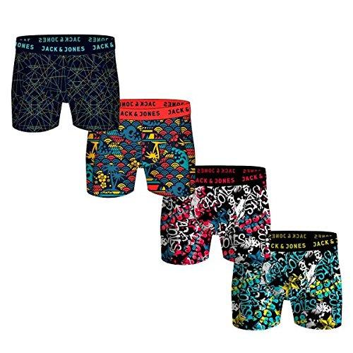 JACK & JONES Boxershorts 4er Pack Mix Trunks Boxer Short Unterhose S,M,L,XL,XXL, Mehrfarbig, XL