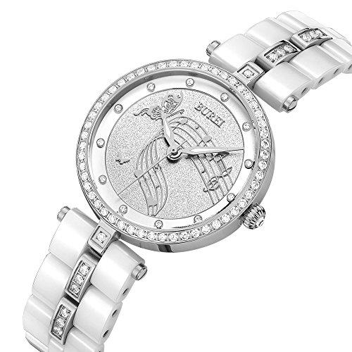 BUREI Elegant Damen Uhren Silber Quarz Armbanduhr mit diamantenlünette Mineral Kristall Zifferblatt Keramik Gurt (Silber)