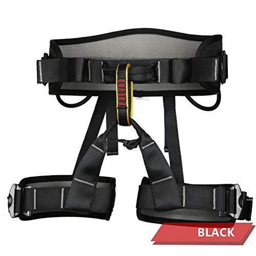 GPAN Imbracatura per Arrampicata Donna Uomo Mezza Posizione Cinture di Sicurezza per Alpinismo Arrampicata su Roccia in Corda Doppia Attrezzatura per Arrampicata Imbracatura Proteggere,Black,OneSize