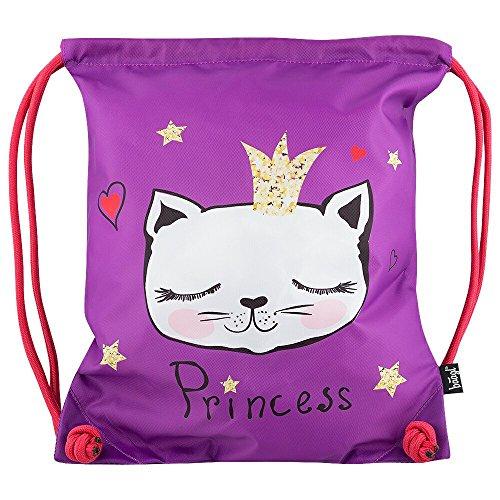Baagl Kinder Sportsack für Sport und Schule - Wasserdichte Schuhbeutel, Turnbeutel für Mädchen (Katzen) -