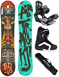 AIRTRACKS SNOWBOARD SET - BOARD RED LIPS - SOFTBINDING SAVAGE - SOFTBOOTS STAR - SB BAG
