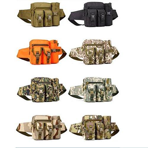 Unisex Taktische Hüfttasche mit Flaschenhalter für Radfahren, Wandern, Trekking, Bergsteigen, Klettern od. andere Ourdoor Sport Sand Tarnung