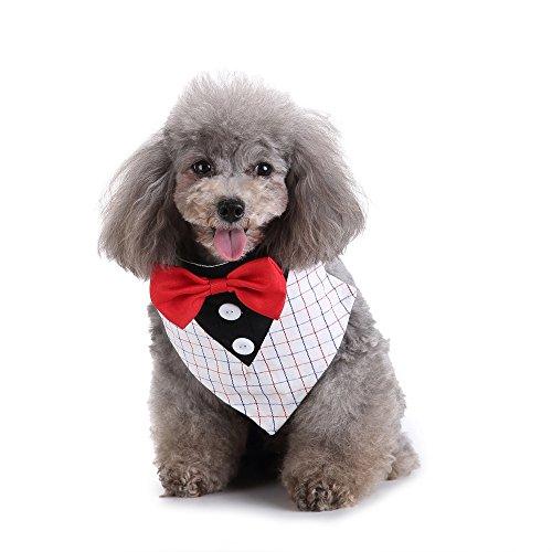 EgBert Formaler Kleiner Hund Tuxedo Bandana Collar Mit Bow Ties Adjustable Neckerchief Für Hochzeitsfeier - S -