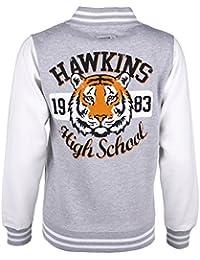 TruffleShuffle Stranger Things Inspired Hawkins High School Grey and White Varsity Jacket
