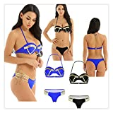 Photo de Women Bandeau Push up Padded Bra Bikini Set Strappy Briefs Swimwear Swimsuit par ROLOCIK&