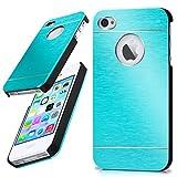 moex iPhone 4S | Hülle Dünn Türkis Aluminium Back-Cover Schutz Handytasche Ultra-Slim Handy-Hülle für iPhone 4/4S Case Metall Schutzhülle Alu Hard-Case