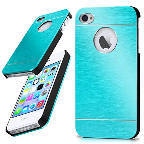 moex iPhone 4S | Hülle Dünn Türkis Aluminium Back-Cover Schutz Handytasche Ultra-Slim Handy-Hülle für iPhone 4/4S Case Metall Schutzhülle Alu Hard-Case - Iphone Case Aluminium 4s Bumper