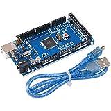 Elegoo Carte MEGA 2560 ATmega2560 ATMEGA 16U2 Board Bleu avec Câble USB pour Arduino