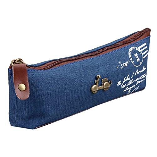 Fami Vintage Nostalgique Canvas Bag Stationery,Bleu fonce