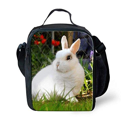 nopersonality Isolierte Lunchtasche für Kinder Niedlichen Kaninchen Print Brotdose Pack Handtasche Größe S Rabbit Print-4