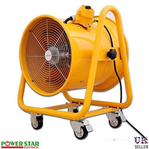 Portable Industriel ventilateur échappement Axial Souffleur Extracteur Explosion étanche (EXTRA)Ventilation ventilateur Avec Gaine - Jaune, 41 cm Ventilateur Sans Conduit