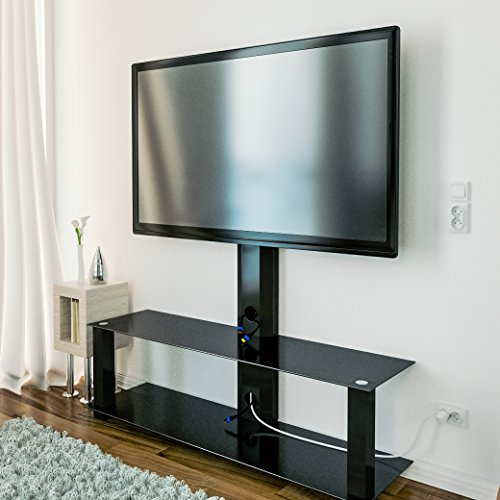 deleycon tv st nder tv halterung fernsehtisch standfu mit glasablage fernsehrack tv tisch tv. Black Bedroom Furniture Sets. Home Design Ideas
