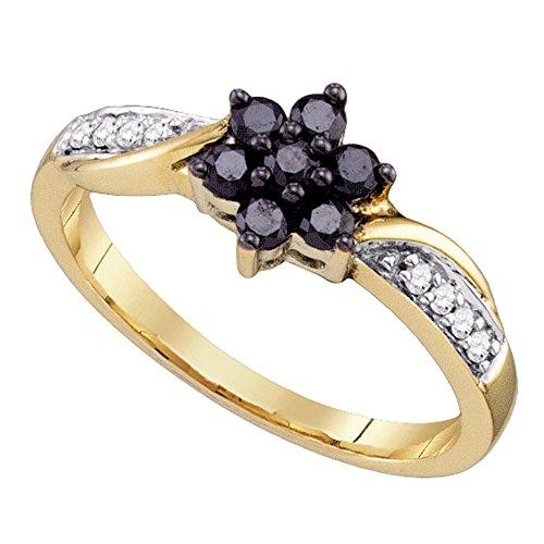 10K oro amarillo redondo Black Diamond...