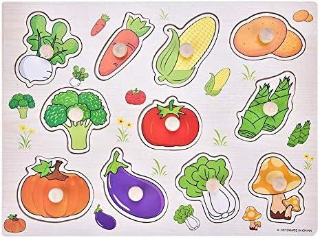 1 Set en Bois Peg Puzzle pour en Les  s en pour Bas Âge Home Learning Early Educatif en Bois Peg Puzzle Jigsaw 4 Styles Formes Jouet pour L'âge 2-7 Ans(Légumes) 72afe5