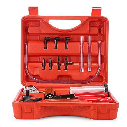 SKM Bremsenentlüfter Kfz Vakuumpumpe für Tester und Reparatur Set mit Tragetasche(Rot)