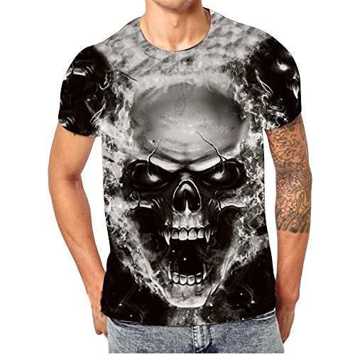 QUINTRA Herren T-Shirt Schädel 3D Druck T-Shirts Kurzarm T-Shirt Bluse Tops (Schwarz-CC, XL)