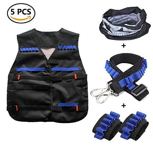 Taktische Weste Jacke Kits für Nerf N-Strike mit 1 pcs maske + 1 pcs Schultergurt + 2 pcs Hand armband (Schultergurt 1)
