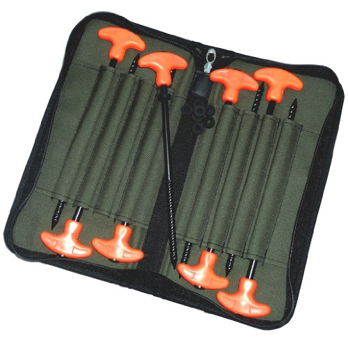 Zelthaken- Set Fluo Rot / 8 Stück, Spiralspitze, schwere Ausführung inkl Tasche