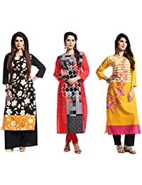 1 Stop Fashion Women's Multi Colour Crep Knee Long Straight W Style Combo Kurti (Set Of 3)