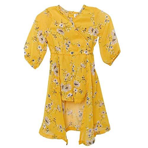squarex Sommer Kinder Baby Kinder Mädchen Kleinkind Blume Langarm Print Kleid Party Rock Prinzessin Kleider Sun Dress Casual Rock - Tier-blumen-print-rock