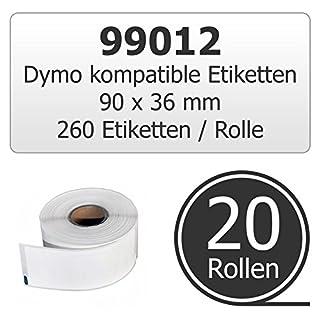 20er Pack Etiketten Typ 99012 / S0722400 kompatibel zu Dymo LabelWriter Etikettendruckern (alte & neue Druckermodelle) Etikettengrösse: 89 x 36 mm 260 Stück / Rolle