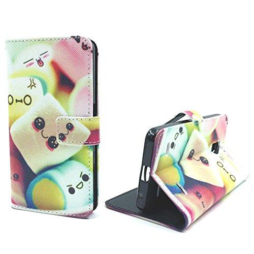 Roi Boutique Housse pour Apple iPhone se Flip Cover Case Étui de protection Motif Wallet Marshmallows