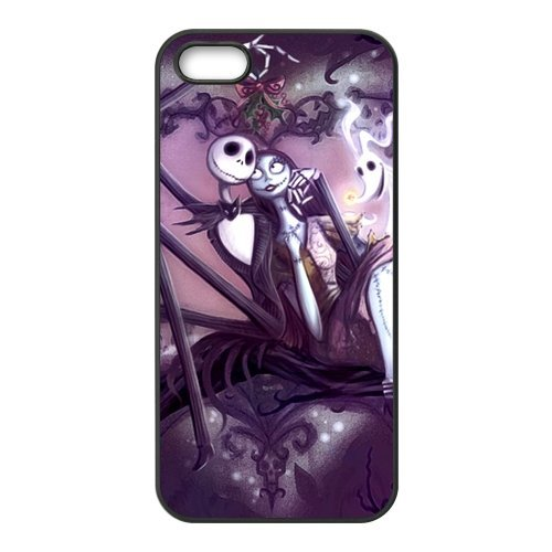 The Nightmare Before Christmas Étui de protection en silicone et TPU Étui avec Screen Protector, Mobile Phone Case Back Cover pour Iphone 5S Blanc Noir for iPhone 5 5S (White/Black)