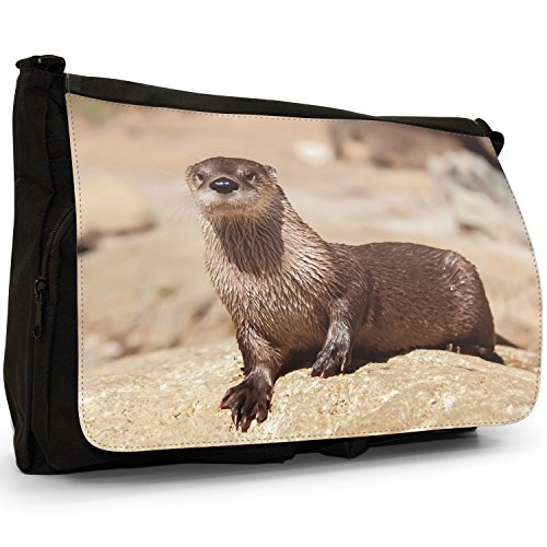 Lontra animale grande borsa a tracolla Messenger Tela Nera, scuola/Borsa Per Laptop Otter Sat On Rock